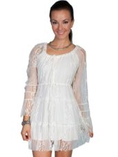 This lovely Honey Creek by Scully® Long Sleeve Lace Dress is fully lined and has a drawstring neckline that lets you customize the look.