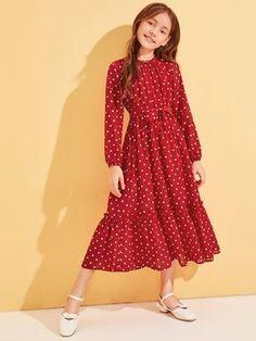 Girl's Dresses, Shop Dresses for Older Girls Online Little Girl Dresses, Girls Dresses, Cord Pinafore Dress, Dress Anak, Casual Dresses, Fashion Dresses, Houndstooth Dress, Mode Hijab, Belted Dress