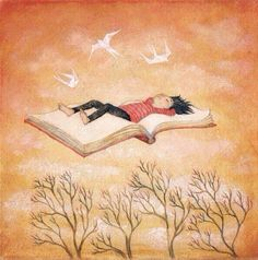 Floating away / illustration by Lucy Campbell I Love Books, Good Books, Books To Read, My Books, Illustrations, Book Illustration, Reading Art, Children Reading, Reading Books