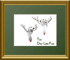 Newborn baby girl footprints Christmas craft card