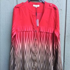 Calvin Klein ombre button down NWT long sleeve silky button down with stylish ombre and diamond design. Calvin Klein Tops Blouses