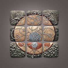 Great inspiration for polymer clay designs from Chris Gryder A series of 9 tile ceramic bas-relief compositions. Clay Wall Art, Ceramic Wall Art, Ceramic Clay, Tile Art, Ceramic Pottery, Polymer Clay Kunst, Polymer Clay Projects, Polymer Clay Jewelry, Clay Crafts