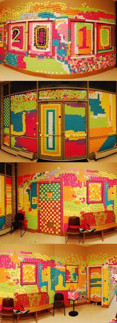 Post-it design... awesome senior prank idea! Class of 2014