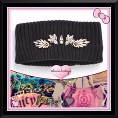 Juicy Couture Black Jeweled Trim Head Wrap HPNWT Juicy Couture black rhinestone embellished head wrap is a cold weather must-have to stay warm and stylish with Juicy bling!   *Acrylic, hand wash *Rhinestone embellishments on front (back plain), ribbed construction, one size fits most *Purple rhinestone headwrap available to purchase & bundle! *Bundle Discounts, Smoke-Free, No Trades Juicy Couture Accessories Hats