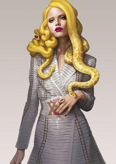 Ignasi Monreal Couture Medusa Illustrations for V Magazine Spain V Magazine, Medusa Kunst, Medusa Art, Medusa Snake, Medusa Gorgon, Illustration Mode, Magazine Illustration, People Illustration, Fantasy Illustration