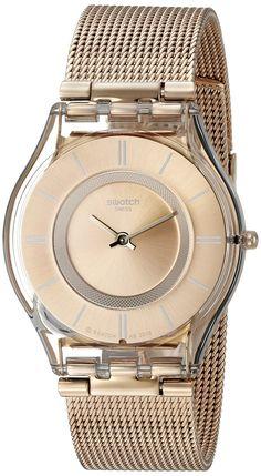 ca8449219496 Swatch Women s SFP115M Skin Analog Display Swiss Quartz Rose Gold Watch Relojes  Dorados