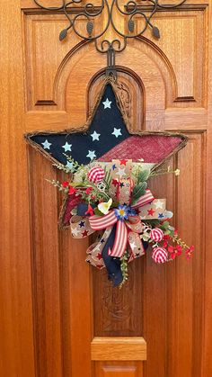 Patriotic Wreath, Patriotic Crafts, Patriotic Party, July Crafts, Holiday Crafts, Fourth Of July Decor, 4th Of July Decorations, 4th Of July Wreath, Christmas Decorations