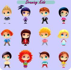 Drawing kids vector set 7mb eps