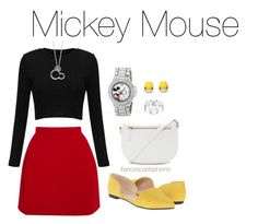 """""""Mickey Mouse"""" by msfrancescaaloe on Polyvore featuring Delpozo, Nine West, Forever 21, Disney, Stella & Dot, women's clothing, women's fashion, women, female and woman"""