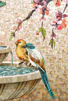Beautiful mosaic panel- birds on a bird bath.