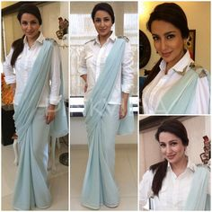 Yay or Nay : Tisca Chopra in Pinakin and Manish Bansal Saree Draping Styles, Saree Styles, Blouse Styles, Indian Fashion Trends, Indian Designer Outfits, Indowestern Saree, Sari Design, Stylish Blouse Design, Designer Blouse Patterns