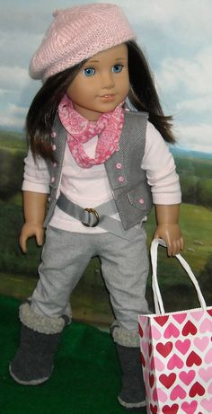 Jeans withTee, Vest, and Hat for 18 inch Contemporary Girls by SugarloafDollClothes on Etsy https://www.etsy.com/listing/218515579/jeans-withtee-vest-and-hat-for-18-inch
