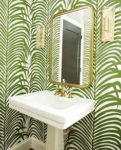 Schumacher Zebra Palm Pattern Animal Floral Wallpaper in Jungle Green – Set Yards) - animal wallpaper Zen Bathroom, Downstairs Bathroom, Modern Bathroom, Jungle Bathroom, Bathrooms, Powder Room Wallpaper, Palm Wallpaper, Bathroom Wallpaper Leaves, Unusual Wallpaper