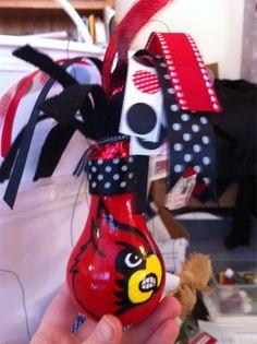 Cardinals Lightbulb Ornaments #UofL #cards #cardinal #louisville #handmade