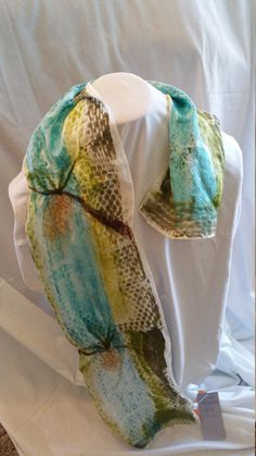 100% Silk Hand Painted Needle Felted Scarf by BlueMountainTextiles on Etsy