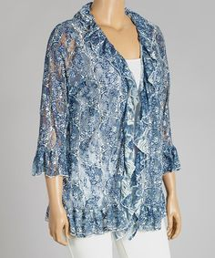 Look what I found on #zulily! Blue & Ivory Paisley Ruffle Open Cardigan - Plus by Lady Noiz #zulilyfinds