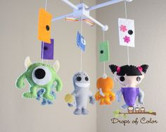 Baby Mobile Baby Crib Mobile Monsters Inc Mobile Monsters and Doors Boo Sulley Mike Nursery Decor Pixar Disney Movie Monsters Inc Nursery, Monster Nursery, Monsters Inc Baby, Baby Nursery Themes, Disney Nursery, Baby Disney, Nursery Decor, Getting Ready For Baby, Plushies