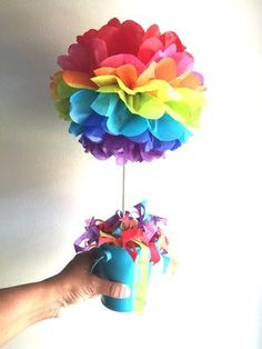 Rainbow Tissue Paper Pom Pom, Rainbow topiary pom pom, table centerpieces, rainbow pom poms on woode Trolls Birthday Party, Troll Party, Rainbow Birthday Party, 4th Birthday Parties, Unicorn Birthday, Unicorn Party, 5th Birthday, Birthday Ideas, 1st Birthday Decorations