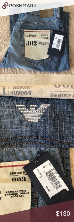 NWT Armani Jeans Rhinestones logo eco-wash Jeans- Rare Rhinestones logo 5 pocket Armani Jeans.  Eco wash.  Regular waist, straight thighs and boot leg.  Size 29. Smoke free home Armani Jeans Jeans Boot Cut