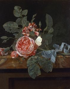 Maria van Oosterwyck  Roses and Butterfly  17th century
