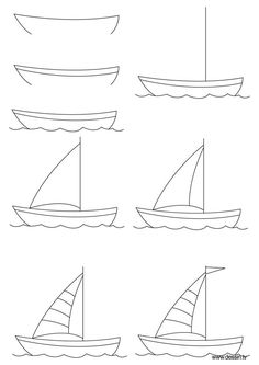 How to draw a boat step-by-step: 12 great ways - HOW-TO-DRAW in 1 minute Art Drawings For Kids, Doodle Drawings, Drawing For Kids, Drawing Tips, Easy Drawings, Doodle Art, Painting & Drawing, Art For Kids, Kids Drawing Lessons