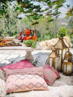 Moroccan inspired bridal shower: http://www.stylemepretty.com/living/2015/09/14/moroccan-backyard-soiree/ | Photography: Steve Steinhardt - http://www.stevesteinhardt.com/