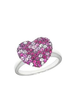 We HEART Effy! Balissima Splash Pink Sapphire Heart Ring, 1.00 TCW  New styles coming to our stores this Fall!  www.hurstdiamonds.com