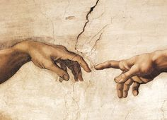 Michelangelo - Creation of Adam (Detail Hands) from the ceiling of the Sistine Chapel The Vatican, Italy