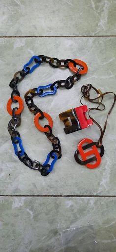 Set of 3 Beautiful horn & lacquering bracelet, chain, pedant; handmade, gift for her