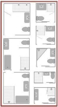 Here are 8 small bathroom plans to maximize your small bathroom layouts as well as tips to help you plan. Here are 8 small bathroom plans to maximize your small bathroom layouts as well as tips to help you plan. Small Bathroom Floor Plans, Small Bathroom Layout, Laundry In Bathroom, Master Bathroom, Small Narrow Bathroom, Bathroom Layout Plans, 1950s Bathroom, Basement Floor Plans, Bathroom Design Layout