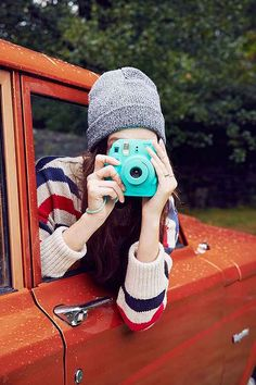Fujifilm X UO Custom Colored Mini 8 Instax Camera - either color (turquoise/dark blue)