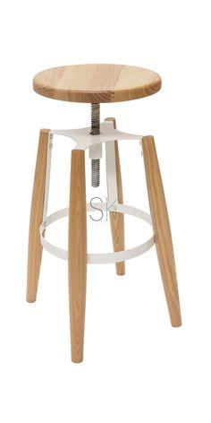 Replica Turner Wood Stool - Powdercoated White & Wood Seat (Ash)