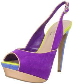 Jessica Simpson JS Shavon Open Toe Slingback Pump in Multicolor (ultra violet kid suede) | Lyst