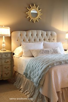 Savvy Southern Style: The Master Bedroom upholstered tufted oatmeal linen headboard from the Home Decorators Collection