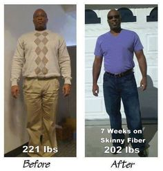 """David looks GREAT!  """"Here's my Skinny Fiber Before and After weight loss pics 7 weeks (49 days) into the Skinny Fiber 90 Day Challenge  I have lost 19 lbs and counting so far! Although I have been a gym rat my whole life and a vegetarian for over 25 years my metabolism has slowed down as I have gotten older, and the pasta, bread, and cheese was deliciously fattening for me. lol!  My target weight is to get down to 195 so I only have 7 more pounds to go with 41 days left in my 90 Day ..."""