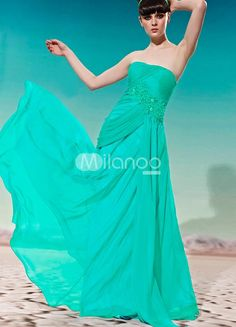 Green Strapless Empire Waist Applique Chiffon Womans Evening Dress. Green Strapless Empire Waist Applique Chiffon Womans Evening Dress. See More Strapless at http://www.ourgreatshop.com/Strapless-C967.aspx