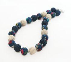 Blue Fabric Necklace Liberty Of London Polymer by Lottieoflondon, £22.00