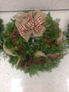 Burlap, Christmas wreath, rustic. Made by me :)