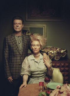 Floria Sigismondi, David Bowie and Tilda Swinton on set of The Stars (Are Out Tonight), 2013