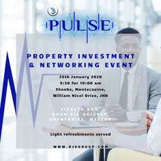View event details for Pulse Property Investment and Networking Event JHB Jan 2020 and order tickets online now. Use Africas fastest growing ticketing service to book tickets for Pulse Property Investment and Networking Event JHB Jan Win Tickets, Online Tickets, Competition Time, Wednesday Motivation, R80, Investment Property, Upcoming Events, Coaching, Investing
