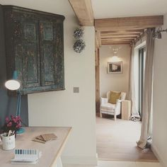 Pops of bright colour in the #borderoak show home on the autumn open day #oakframe #selfbuild