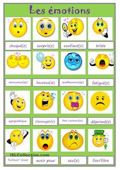 A collection of English ESL Vocabulary worksheets for home learning, online practice, distance learning and English classes to teach about List Of Emotions, Feelings And Emotions, French Education, Kids Education, Image Emotion, Emotions Preschool, Teaching Emotions, French Classroom, Anxiety In Children
