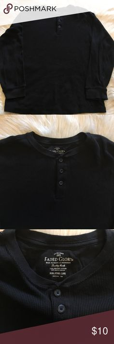 Boys Warm Thermal Shirt Boys size 2X (18), black 3 Button thermal in good condition great for a teen or small man Faded Glory Shirts & Tops Tees - Long Sleeve