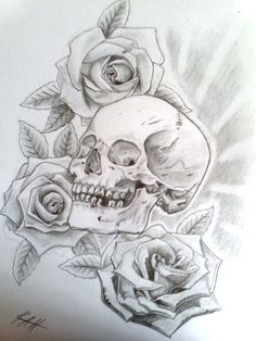 skull and rose tattoo   skull with roses by ~Ryansart on deviantART
