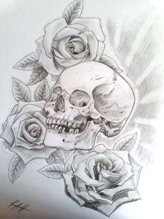 skull and rose tattoo | skull with roses by ~Ryansart on deviantART
