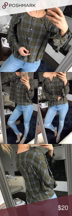 """Green Blue Checkered Ruffled Blouse 🌿 Brand new with tags. Hundred percent rayon. I'm 5.7"""" ❗️ Booties size 9.5 also available❗️ Tinseltown Tops Blouses"""
