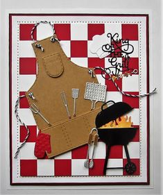 PartiCraft (Participate In Craft): Checkerboard Barbecue Card Masculine Birthday Cards, Birthday Cards For Men, Man Birthday, Masculine Cards, Cute Cards, Diy Cards, Card Making Templates, Beautiful Handmade Cards, Fathers Day Cards