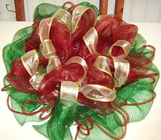 Amazon.com: Deco Mesh Wreath Christmas Wreath-red and Gold with Ornaments: Home & Kitchen