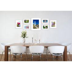 Fotomuur wit - fotolijsten set 7 fotolijsten. Houten fotolijsten inclusief passe-partouts en handige ophangtemplate
