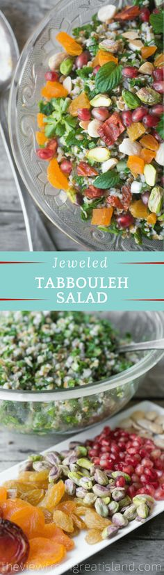 Jeweled Tabbouleh Salad is a healthy Mediterranean cracked wheat salad studded with colorful, gem-like fruits and nuts. Jeweled Tabbouleh Salad is a healthy Mediterranean cracked wheat salad studded with colorful, gem-like fruits and nuts. Supper Recipes, Side Dish Recipes, Easy Dinner Recipes, Easy Meals, Easy Recipes, Good Healthy Recipes, Whole Food Recipes, Amazing Recipes, Cracked Wheat